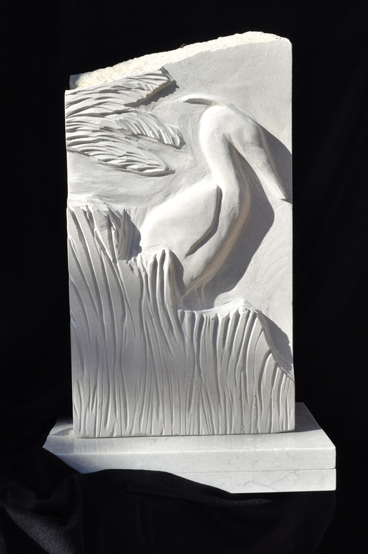 Limestone relief sculpture heron